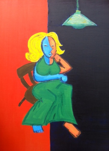 """Indecision in a Green Dress"" Acrylic on canvas, 2010."