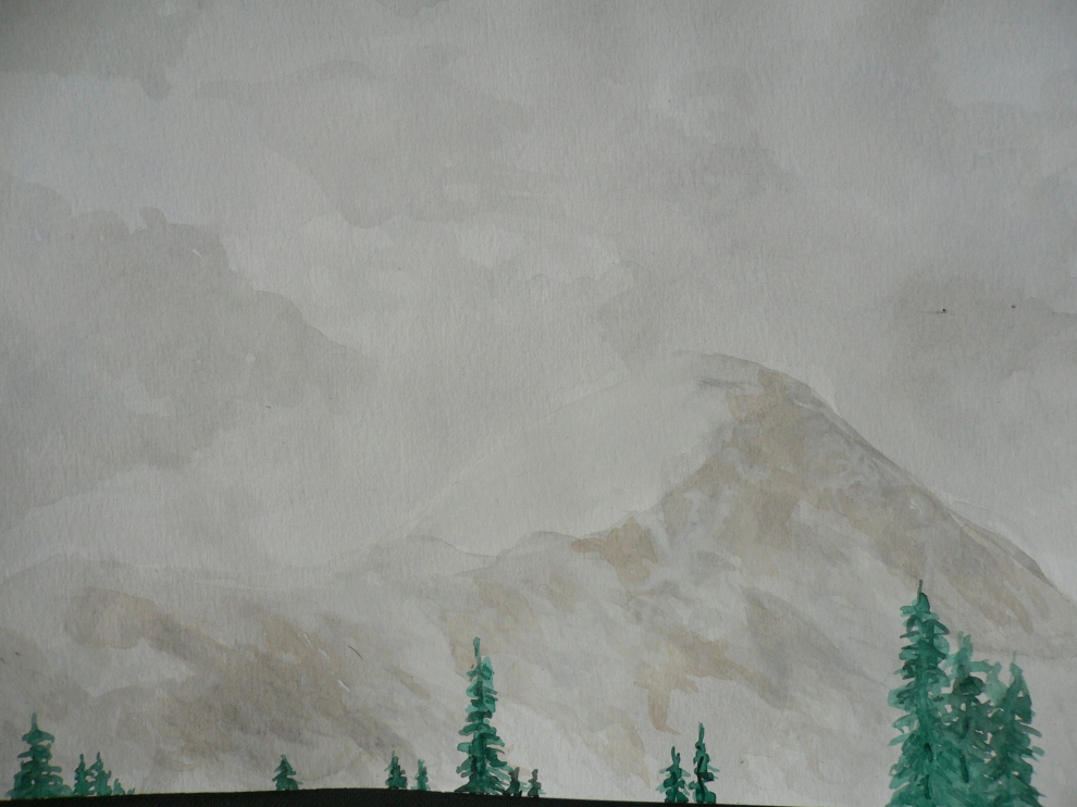 """Snow Coming in Over Mt. Quandary"", watercolor, 2004-5ish"