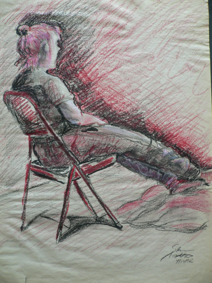 Life drawing, trois crayon on newsprint. 1992-ish.